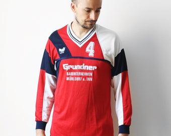 Vintage Erima soccer tshirt / Football soccer jersey t-shirt / Mens Geometric t-shirt tee shirt grundner / West Germany M L 80s