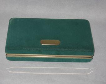 Vintage green velvet jewelry storage travel box