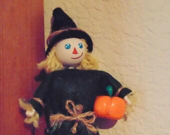 Scarecrow Miniature Art Doll, Harvest Miniature Character, Autumn Mini Doll, Garden Scarecrow