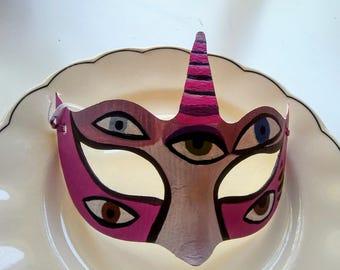 Haloween Unicorn Mask, Hand Painted, Papier Mache Mask, Pink Unicorn Mask, Face Mask, Animal Spirit