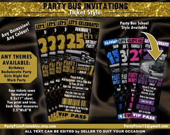 Party Bus Bachelorette Birthday Girls Night Out Party Invitations - Ticket Style - Personalized and Printable Digital Files