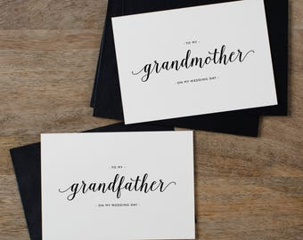 To My Grandmother + Grandfather On My Wedding Day, To My Grandparents Card, Wedding Grandparents Card Wedding Thank You Card, 2 Cards, K3