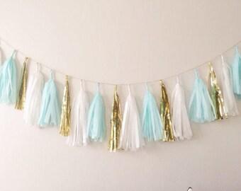 Mint Blue and Gold Tassel Garland - Mint Party Decor, Mint Wedding Decor, Mint Gender Reveal, Mint Blue Baby Shower and Mint Blue Nursery