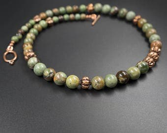 African green opal and copper necklace, handmade semiprecious stone earth tone green opal indian copper bead statement necklace