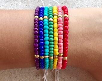 Rainbow Bracelet Pack - Bundle Bracelet Set - Colorful Bracelet Stack - LGBT Jewelry - Best Friend Bracelets - Coordinating Jewelry - Pride