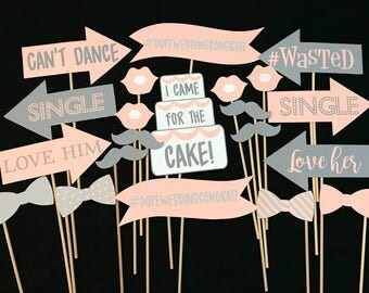 Pink and Gray Wedding Photo Booth Props