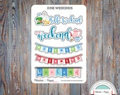 June Weekend Planner Stickers
