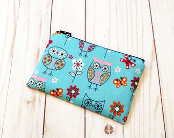Owls Blue Small Zipper Pouch