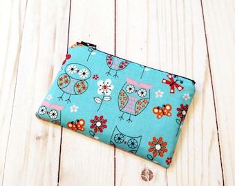 Owls Blue Small Zipper Pouch