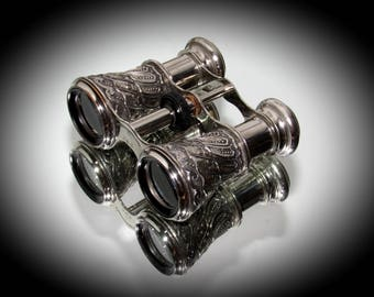 Vintage Opera Glasses, Collectible Occupied Japan, Ornate Silvertone Miniature Binoculars, Theater Glasses, Unique Pocket Field Binoculars.