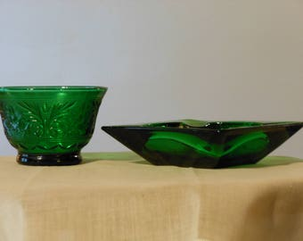 Dark Green Embossed Votive Dish and Ash Tray