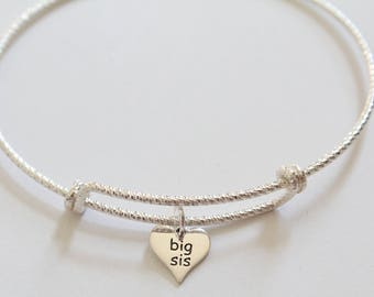Sterling Silver Bracelet with Sterling Silver Big Sis Charm, Big Sis Bracelet, Big Sister Bracelet, Big Sis Heart Bracelet, Big Sis