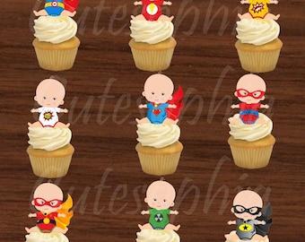 Baby shower, baby superhero, superhero cape, league justice, cupcake toppers, superhero cupcake toppers, 1st birthday, birthday,superhero