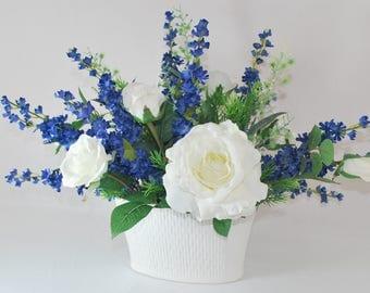 White and Blue Silk Flowers Arrangement White Oval Ceramic Planter