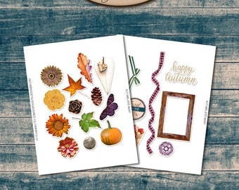 Daily Planner, Digital, Printable, Element Stickers: Autumn Joys