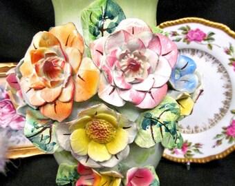 Capodimonte Large Ceramic Vase with Applied Flowers Artist Signed Vase