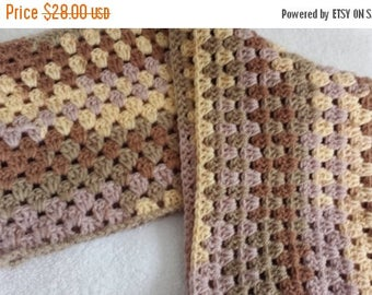 ON SALE Infinity Cowl Scarf Crocheted Brown Unisex