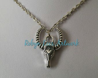 Small Silver Double Sided Ram Sheep Cattle Goat Skull Charm Necklace on Silver Crossed Chain or Black Faux Suede Cord
