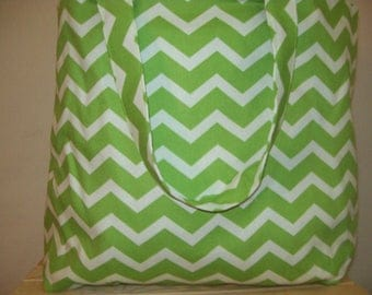 Large Apple Green Chevron Tote Bag
