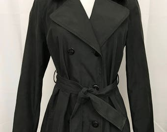 Vintage Static Jacket Trench Coat Double Breasted Belted Black size Medium Lined