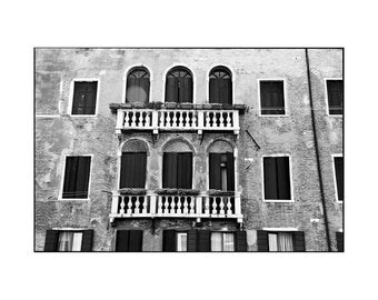 Balcony, Venice, Signed Art Print / Black and White Photography / Venice Architecture Photo