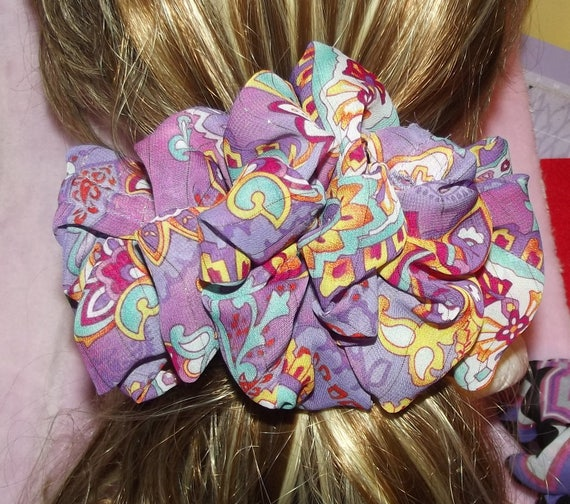 Becky Bows ~OOAK ROSETTE Barrette Hand crafted giant huge Scarf BIG hair bow Women or Girls brown purple paisley