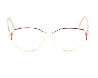 Vintage Nigura eyeglasses original METZLER Germany nerd glasses oversize clear white red