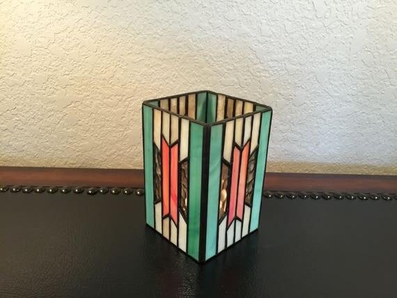 vintage forma vitrum stained glass candle holder southwest. Black Bedroom Furniture Sets. Home Design Ideas
