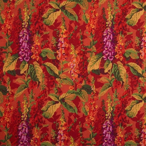 "FOX GLOVES Hot Red PWPJ010.HOTXX Philip Jacobs for Kaffe Fassett Collective Sold in 1/2 yd increments Fq = 18"" x 22"" each"