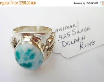 "ENDLESS SUMMER SALE Stunning Genuine Aaa Grade Larimar Men's ""Dolphin"" Ring .925 Sterling Silver  Free U.S. Shipping  U.S. Size 9 1/2"