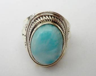 ENDLESS SUMMER SALE Gorgeous Genuine Aaa Grade Larimar Ring .925 Sterling Silver  Free U.S. Shipping  U.S. Size 6 3/4