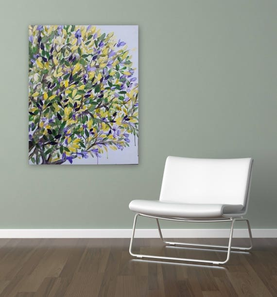floral painting purple and yellow and white leaves leaf painting tree painting by Marcy Chapman