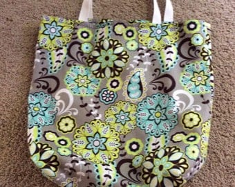 Gray with beautiful green and brown designs market, grocery washable reusable bag