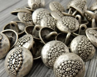 Summer Sale Hammered Tribal Buttons, Antique Silver Metal Button, 18mm Qty 4 , Bali Style, Great for Leather Wrap Clasps or Clothing