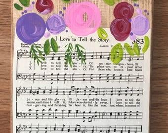 Vintage hymn wood signs / flowers