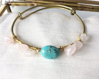 Pink and turquoise natural stones and brass Bangle Bracelet
