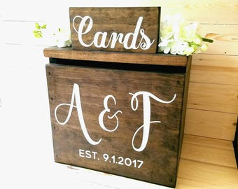 Wedding Card Box LARGE - Rustic Personalized Painted Wooden card box, keepstake trunk, rustic wedding card box large card box