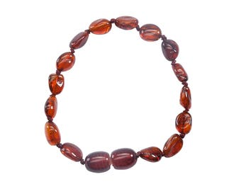 Genuine Baltic Amber Teething Bracelet (ATBP-Light Cherry)