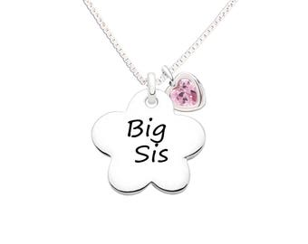 Sterling Silver Big Sis Flower Charm Necklace with Gift Box perfect for a Sister Gift (BCN-Big Sis)
