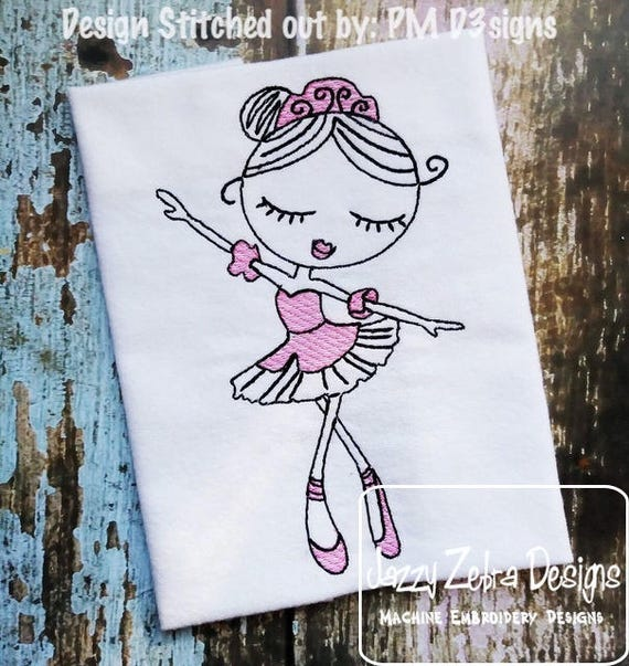 Swirly Ballerina 1 Sketch embroidery design - Ballerina embroidery design - ballet embroidery design - girl embroidery design - dance