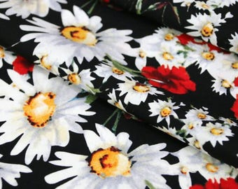 By 3 yards- Free shipping Black cotton fabric, printed white red floral fabric, DIY fabric, skirt dress fabric-FYEL
