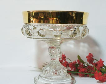 Kings Crown Thumbprint Gold Rim Compote Dish, Vintage by Indiana Glass