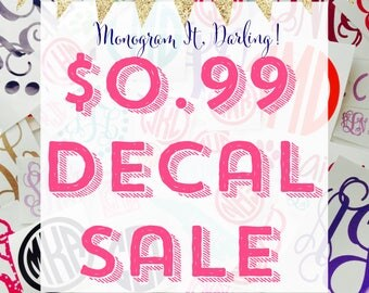99 cent Monogram Decal Sticker Sale for Laptop, iPhone, Samsung, tumbler, tablet, & more! Many colors and styles!