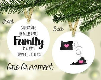 Personalized Porcelain Side by Side or Miles Apart, Family Is Always Connected at Heart Cousins Holiday Gift - Gift Box! Any Location!