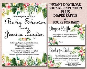 Tropical Luau Baby Shower Invitation Set, Editable Invitation, Books For  Baby U0026 Diaper Raffle
