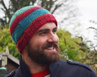 Reds & greens winter beanie hat