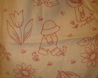Sunbonnet Sue, Overall Sam w/ Tulips, Daisies Red on White lightweight cotton fabric 2 yards & 2 inches by Faye Liverman Burgos