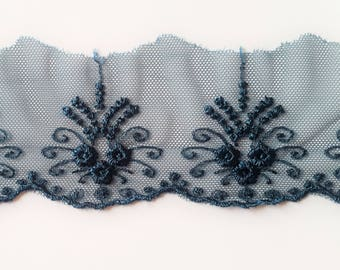 9 m Ribbon lace embroidered tulle dark green color bottle