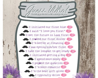Instant Download- Bridal Shower Guess Who Game