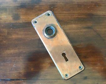 Vintage Keyhole Door Knob Plate, Escutcheon, Decorative Copper Door Plate, Metal Door Hardware, Architectural Salvage, Restoration Metal